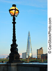 Street lamp and London Southwark buildings