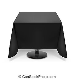 Square table with black tablecloth. - Square dining table...