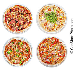 pizza set isolated on a white