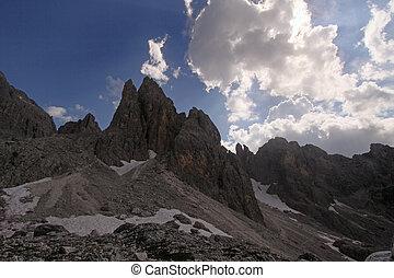 gory, chmury, szczyty - Dolomity, Wlochy, gory, chmury,...