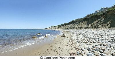 bloco, ilha, penhascos, dunas, panorama