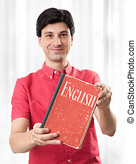 young man with English Dictionary Book