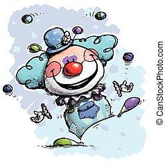 Clown Juggling - Boy Colors - Cartoon/Artistic illustration...