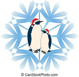 penguins - New Year illustration with penguins and snowflake
