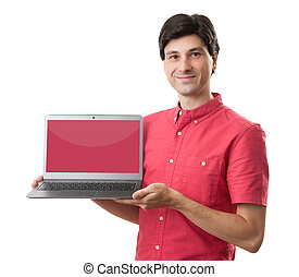 casual man presenting a laptop with a red empty screen