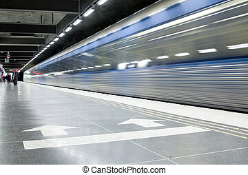 subway - fast train passing by. motion blur