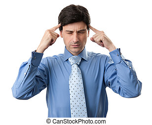 Stressed business man with a headache Isolated on white