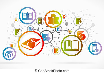 Books - Book icon set vector abstract background