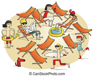 Young people having fun on a beach vignette illustration....