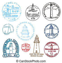 Set of stamps with various lighthouses