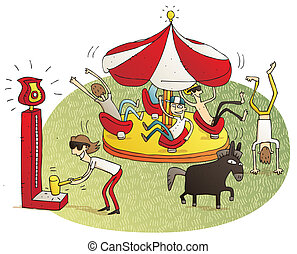 Young people having fun in fun fair vignette illustration...