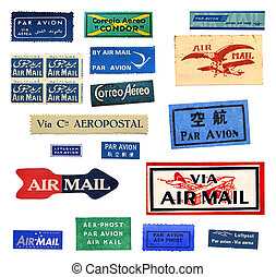 Vintage airmail labels from all over the world