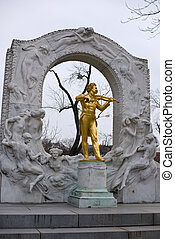 memorial of the waltz-king - the famous golden memorial of...