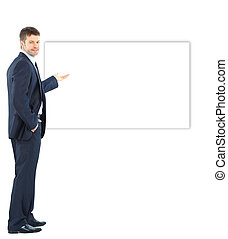 Happy business man presenting and showing with copy space...