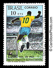 Stamp Brazil 1000 goal of Pele - Stamp from Brazil showing...