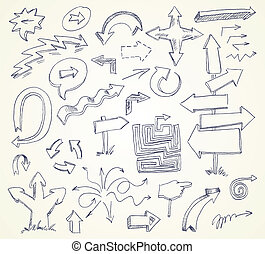 Arrow Doodles Hand-drawn Vector version of raster image