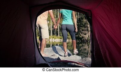 Outdoor activity, people camping