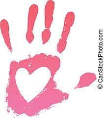 Handprint heart. Vector illustration
