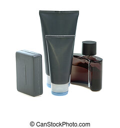 mens cosmetics - set of mens cosmetics on white background...