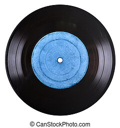 old vinyil record - old vinyl record with blue blank label...