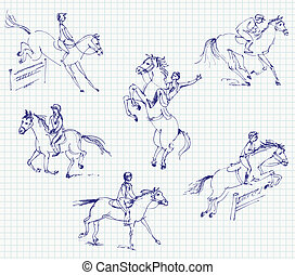 Jockey riding a horse Hand-drawn - Jockey riding a horse Set...