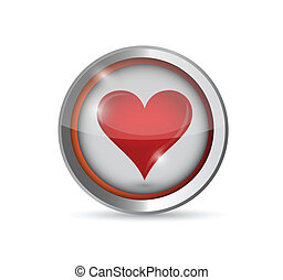 button and red heart illustration design