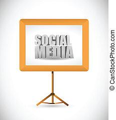 social media sign on a white board. illustration design