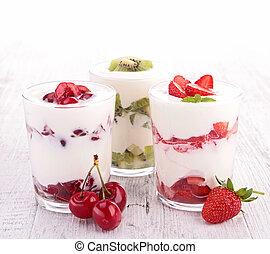 surtido, fruta, yogur