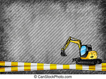 excavator on the background - yellow tape and excavator on...