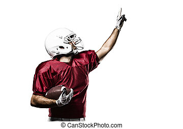 Football Player with a Red uniform celebrating on a White...
