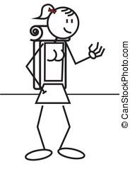 Stick figure female backpack
