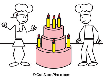 Stick figures cake - Vector illustration of a boy and a girl...