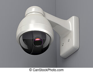 Security camera on a grey wall, 3D render