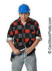 young building worker portrait