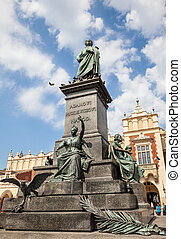 monument of Adam Mickiewicz in Kracow - Statue of Adam...