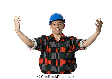 young building worker - young building worker with outspread...