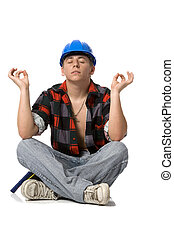 young building worker - worker during the meditation