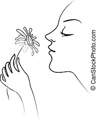 Smelling flowers - The girl holds in her hand tenderly...