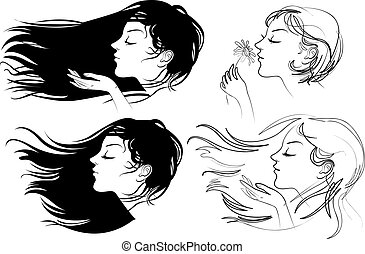 Beautiful girl with long hair. Hair fluttering wind. Vector...
