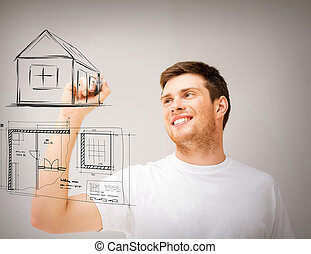 man drawing blueprint on virtual screen