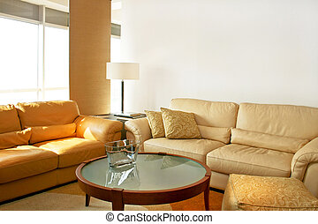 Leather living room - Bright living room with two leather...