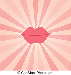 retro background with lips - retro pink background with lips