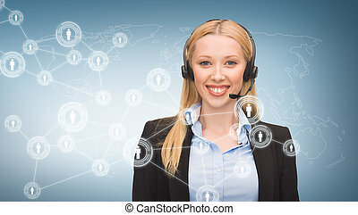 helpline operator and virtual screen - business,...