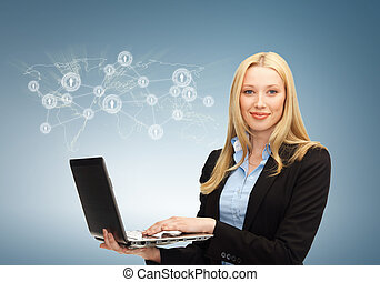 businesswoman with laptop and virtual screen - business,...