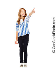 girl pointing at imaginary screen - education, school and...