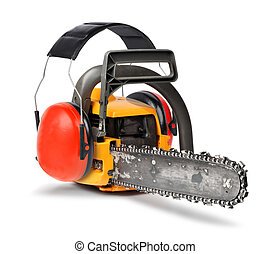 Chain saw with ear protectors, working safety concept