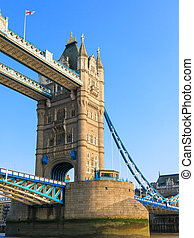 Tower Bridge, London, England - Closeup view of one of the...