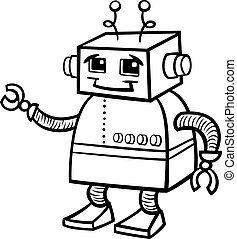 robot cartoon illustration for coloring - Black and White...