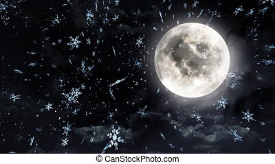 clear moon black white - The background of snow flare...