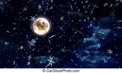 clear moon wide - The background of snow flare falling for...